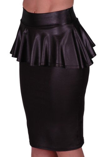 1Wet Look PVC Peplum Bodycon