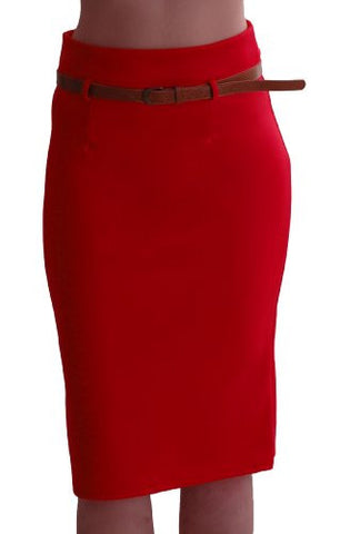 Work Belted Pencil Skirt
