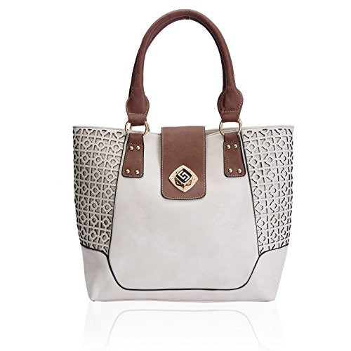 1Faux Leather Laser Cut Tote Bag