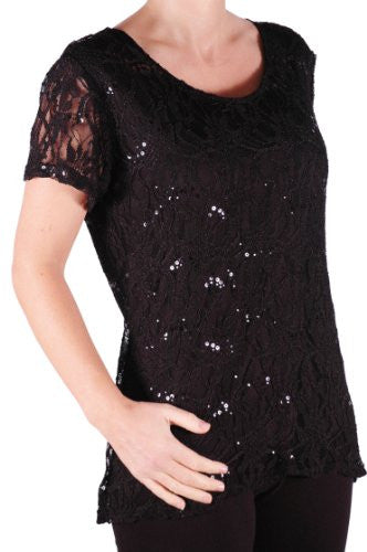 1Marla Short Sleeve Lace Plus Size Tops