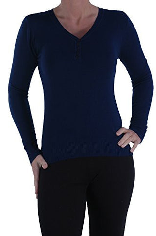 Button Detail V Neck Jumper
