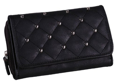 Quilted Heart Studded Faux Leather Purse
