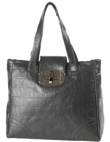 Ellie Faux Leather Croc Print Shoulder Bag