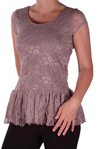 Poppy Lined Short Sleeve Lace Tops