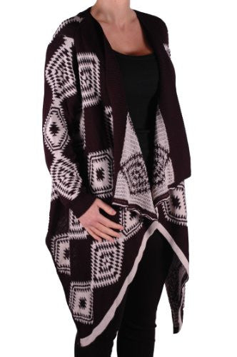 1Kate Open Front Knitted Waterfall Cardigan