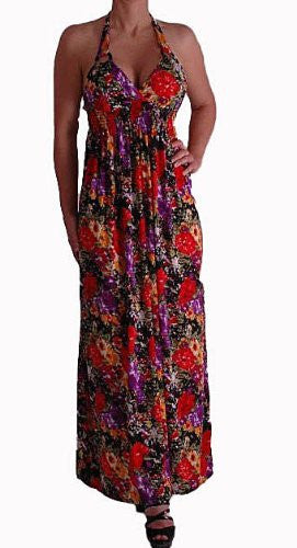 Petra Floral Print Halter Neck Maxi Dress