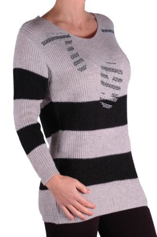 V Neck Gemstones Striped Jumper
