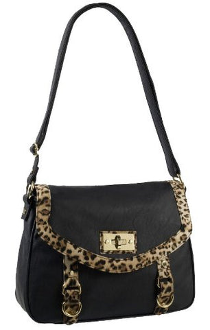 Annabelle Leopard Print Faux Leather Satchel Bag