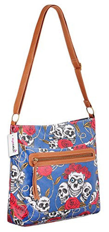 Skull Roses Print Cross Body Bag