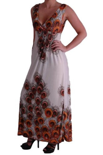 1Peacock Print Grecian V Neck Maxi Dress