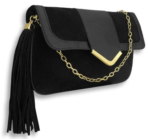 1Lena Suedette Shoulder Bag with Tassled Charm