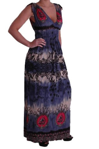 JoJo Grecian V Neck Printed Maxi Dress