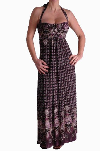 1Dido Halter Neck Maxi Printed Dress