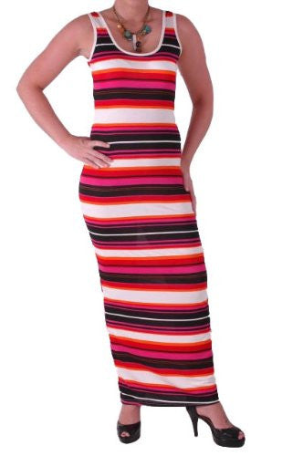 Psychedelic Stripes Jersey Maxi Dress