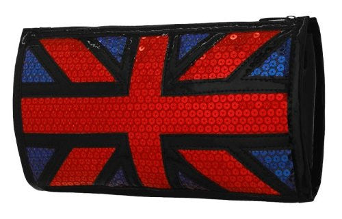 1Brittania Union Jack Faux Leather Sequined Clutch Bag