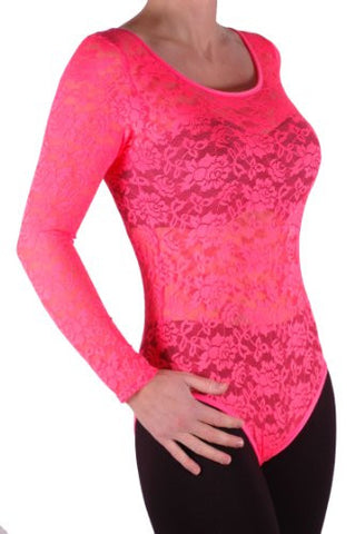 Scoop Neck Long Sleeve Floral Lace Leotard