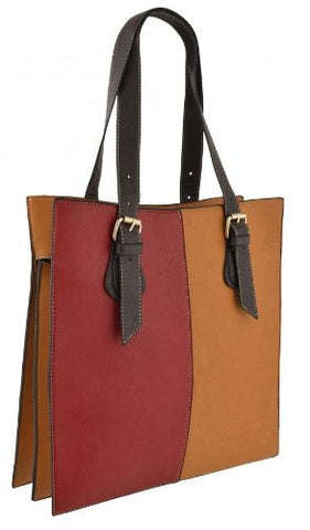 Two Tone Faux Leather Shoulder Bag