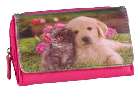 Dog and Cat Faux Leather Purse