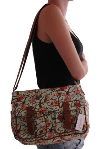 Canvas Owl Print Satchel Bag