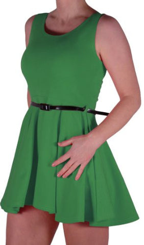 Belted Skater Sleeveless Dress