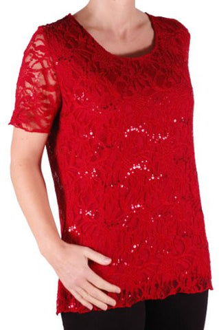 Marla Short Sleeve Lace Plus Size Tops