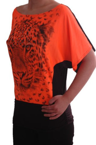 Two Tone Tiger Graphic Boat Neck Neon Tops
