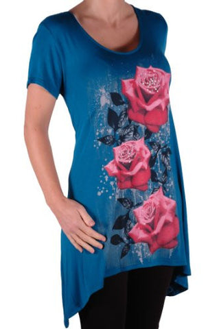 Tulip Long Draped Rose Print Plus Size Short Sleeve Tops