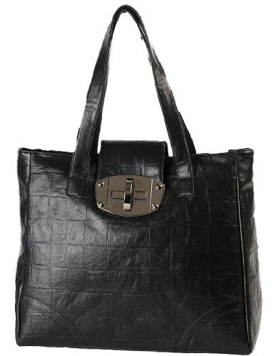 1Ellie Faux Leather Croc Print Shoulder Bag