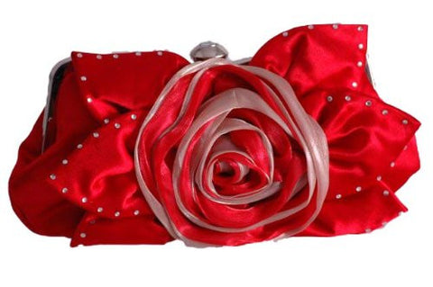 Jewel Satin Rose Detail Clutch Bag