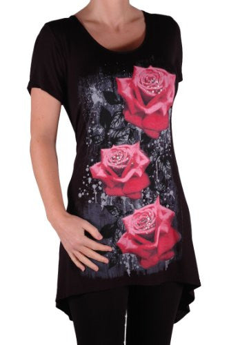 1Tulip Long Draped Rose Print Plus Size Short Sleeve Tops