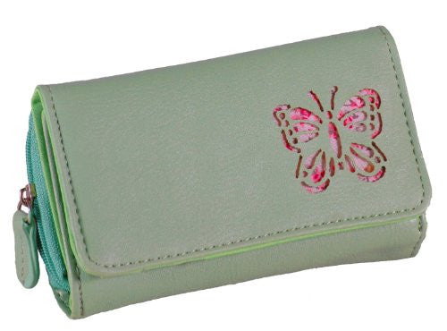 Butterfly Detail Flap Over Faux Leather Purse