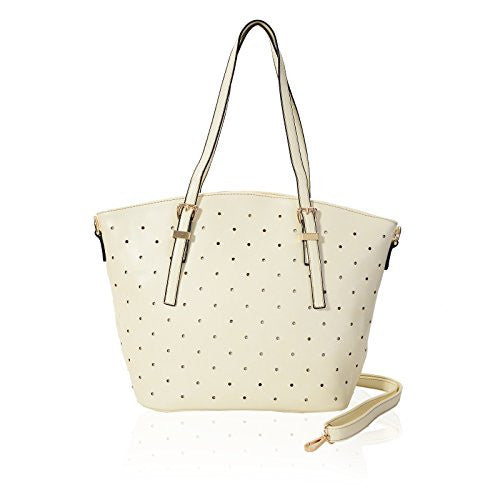 1Faux Leather Studded Tote Bag