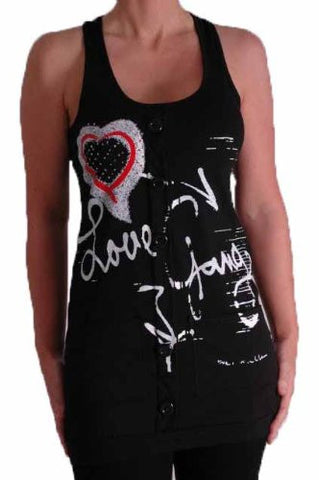 Celesta Love Graphic Sequined Sleeveless Tops