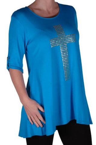 TM PlusGothic Cross Tunic Oversize Scoop Neck Flared Long