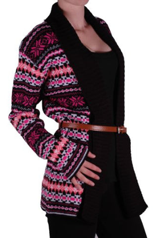 Aztec Print Open Front Belted Cardigan