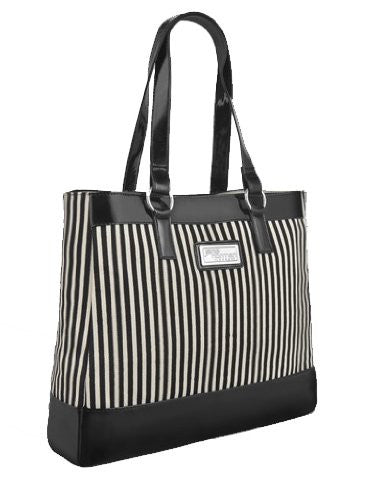 Striped Canvas Faux Leather Shoulder Bag