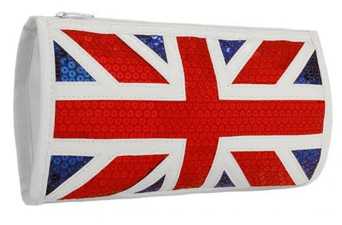 Brittania Union Jack Faux Leather Sequined Clutch Bag