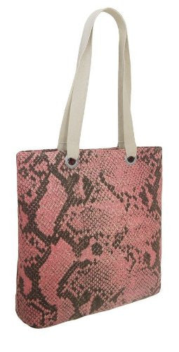 Drew Canvas Croc Print Shoulder Bag