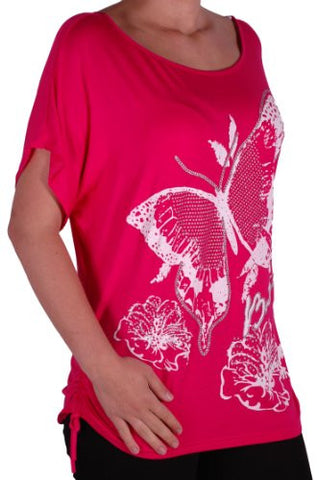 Butterfly Print Ruched Short Sleeve Plus Size Tops