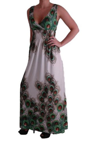 Peacock Print Grecian V Neck Maxi Dress