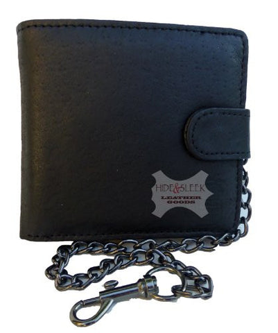 Genuine Leather Wallet with Security Chain