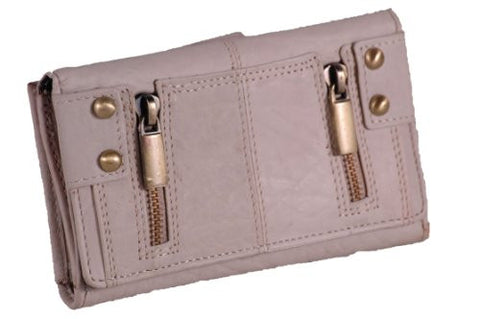 Twin Zip Faux Leather Wallet