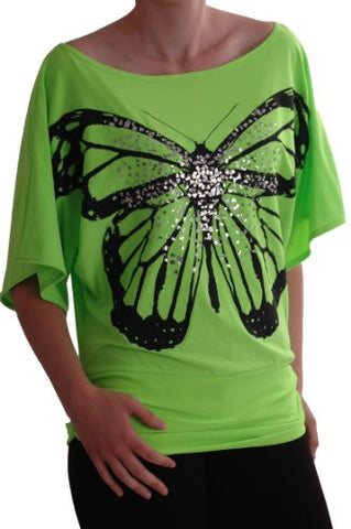 Amoretta Boat Neck Batwing Butterfly Graphic Tops