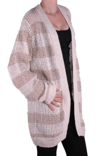 Sparkle Knitted Open Front Stripped Plus Size Cardigan