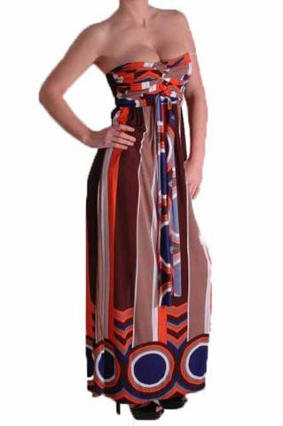 Ana Multicoloured Strapless Bandeau Maxi Dress