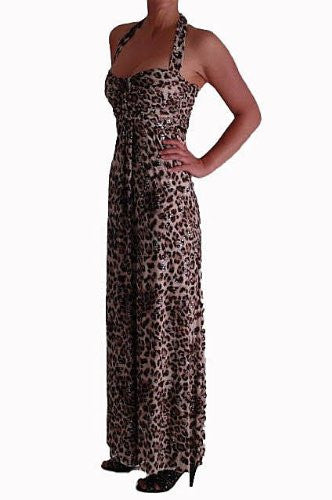 Leopard Print Sequined Halter Neck Maxi Dress