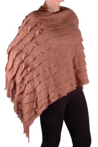 Kerry Studded Fringe Knitted Poncho