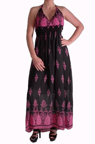 Raquel Patterned Halter Neck Maxi Dress