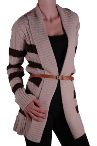Striped Open Front Belted Cardigan