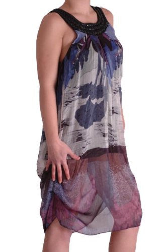 1Printed Chiffon Beaded Sleeveless Dress